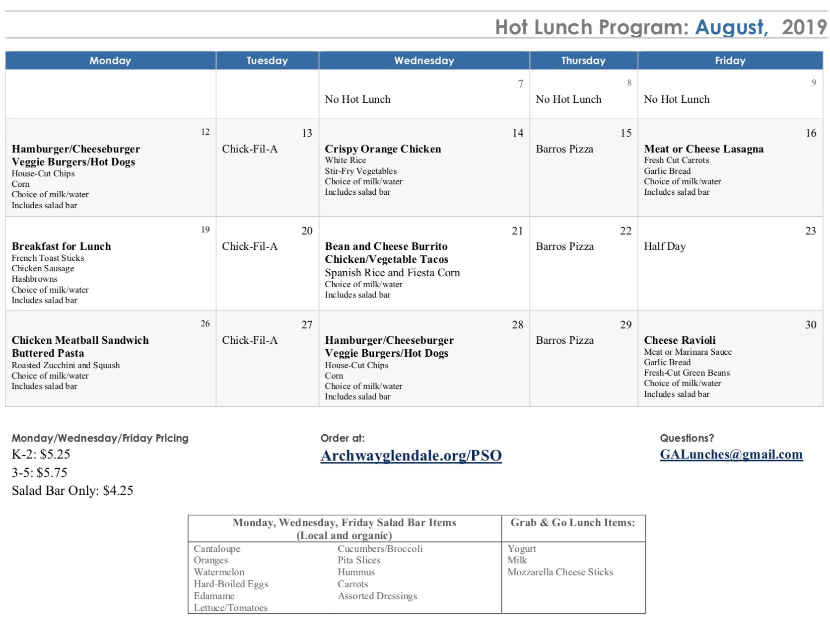 August lunch calendar