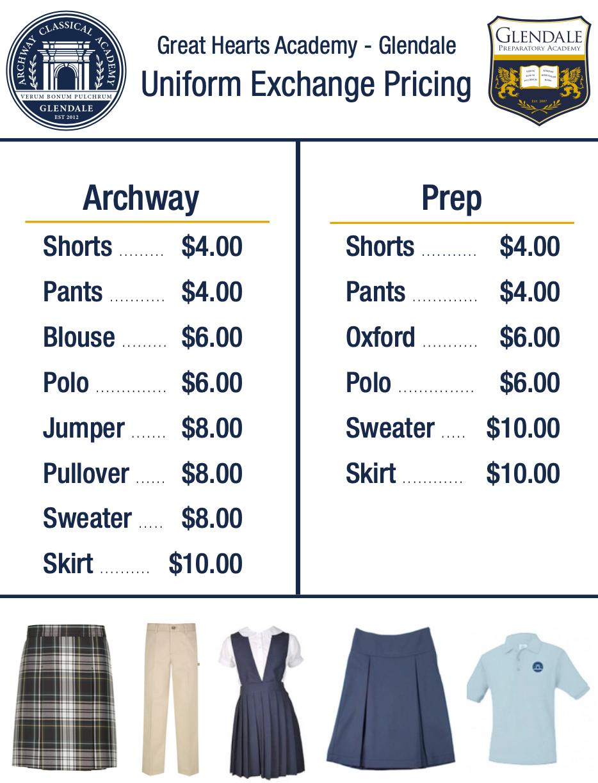 Uniform Exchange pricing sheet